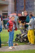 Michael J. Fox sur le tournage de Retour vers le Futur