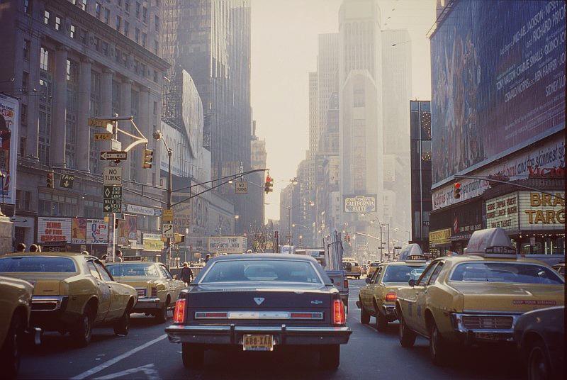 Vue de Taxis à New York années 1980
